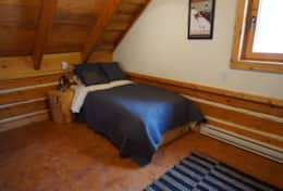 A cozy twin bed in the loft. Mattress by Endy.