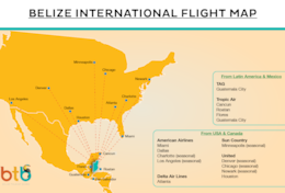 2021 MAR flight Map for Travel Belize