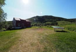 Hillside lodge Lofoten yard and barn