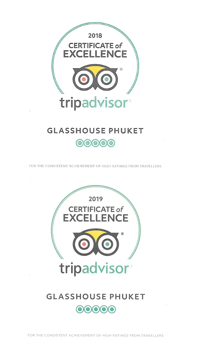 TripAdvisor Certificate of Excellence - Glasshouse Phuket