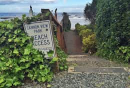 The beach access, across the road