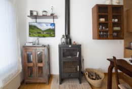 TV room with wood stove