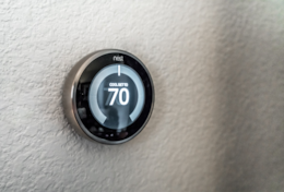 Nest thermostat makes changing the apartment temperature easy.