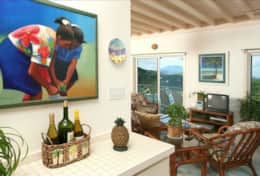 Original Caribbean Art decorates the kitchen