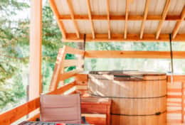 Teakwood Hot Tub on Back Deck