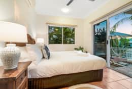 Bedroom 3 - Queen bed, patio access, marina view