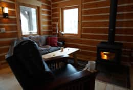 Relax by the fire in a leather recliner with a cup of coffee or tea
