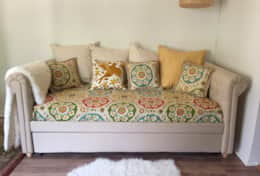 The daybed is a comfortable place to read, relax, watch TV or take a nap