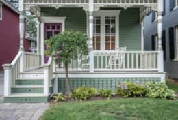 Victorian front entry porch - street view