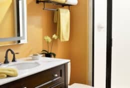 Light, bright, and cheery bathroom.