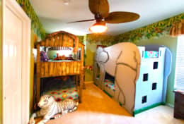 Lion King bedroom with Elephant and Tree House bunk beds