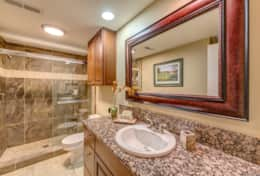 Bathroom with Walk-In Shower and Granite Counter Tops