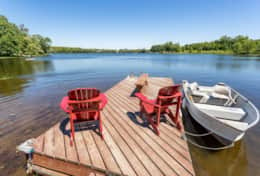 Relax on the dock while watching the kids in the shallow water