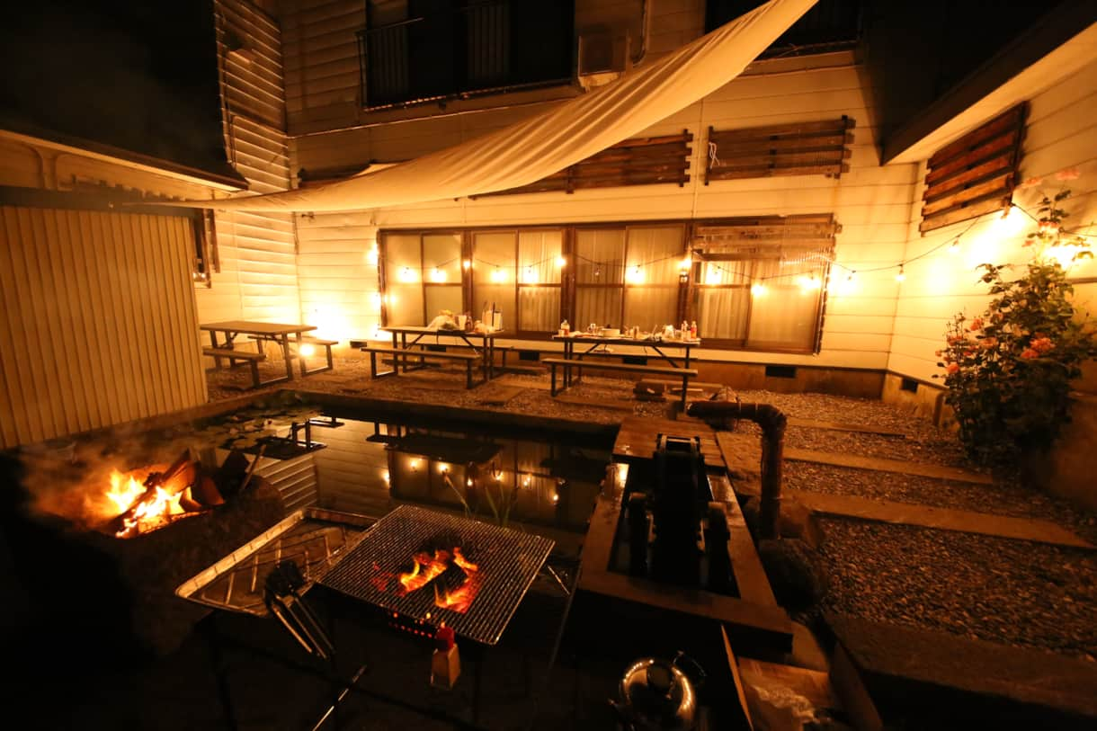 Stylish BBQ area at night (summer only)