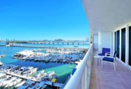Direct Biscayne Bay views from furnished balcony