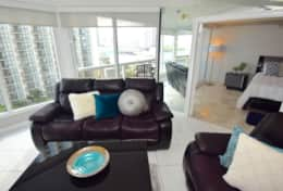 Living room with incredible views of Downtown and Biscayne Bay, Roku streaming tv