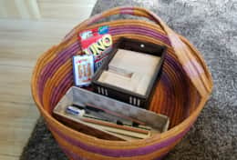 Basket full of games and stationary