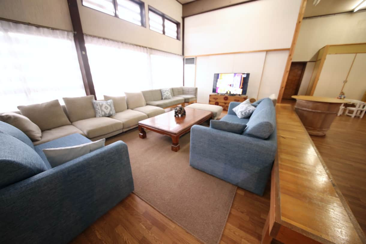 The living area has English language TV channels and plenty of sofas for everyone.