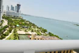 Views of Biscayne Bay from furnished balcony