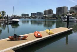 Kayaks on the marina berth