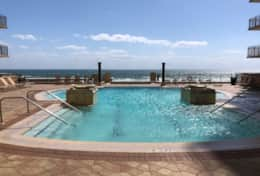 Origin's amazing heated pool and hot tub with views of the gulf
