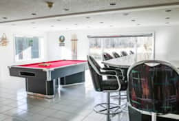 Game room with Bar, overlooking the pond