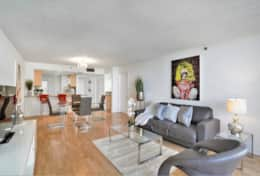 Living room, dining area, fully equipped kitchen with washer/dryer, Roku tv, balcony access