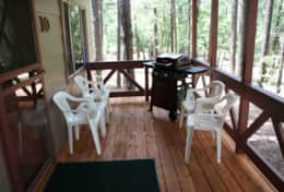 cabin 10 covered porch with gas grill
