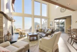 The large bank of windows in The House at Arch Cape allow for gorgeous ocean views.