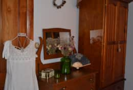 Second Queen bedroom with vintage style dresser and wardrobe with plenty of space