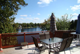 Upper Deck Outdoor Dining & BBQ area over looking Sturgeon Lake.