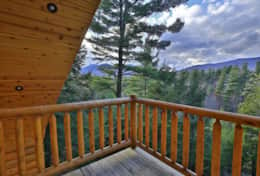 Master bedroom walkout balcony with views of Whiteface Mt and the Wilmington Range