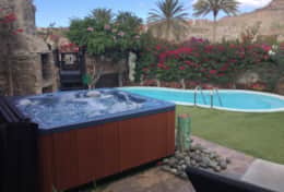 Private heated pool with great hot tub