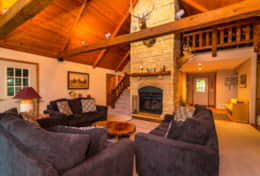 Living room/fireplace, The Galena Log Home, Galena IL - Vacation Rental Home