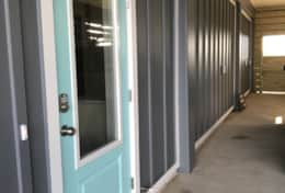 Doors are painted in Behr Beachside Drive