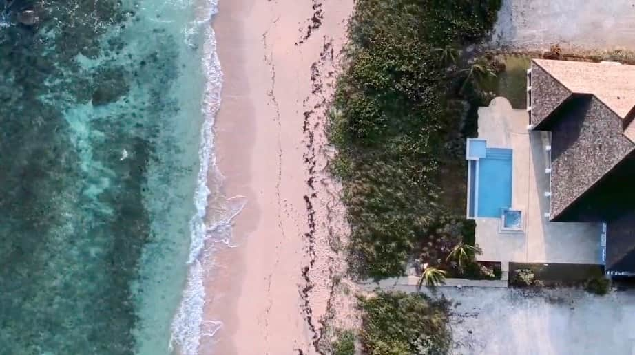 Villa XXI Exuma Drone View of the Beach and Pool