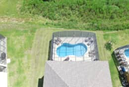 Aerial shot of the pool and deck