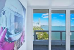 Dining area, living room, view on Biscayne Bay