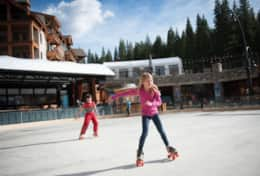 Skaters glide across pavement in the summer and ice in the winter.