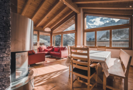 Chalet Midori - Sleeps 12 - Open Plan Living Area and Fireplace