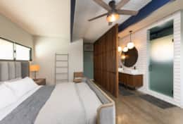 Master bedroom with King bed and en-suite bathroom.