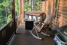 Waynesville Smokies Overlook Lodge Cabin - Deck Rocking Chairs Fire Pit