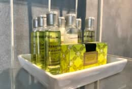 We offer a bath kit in case you forget an item: shampoo, conditioner, soap