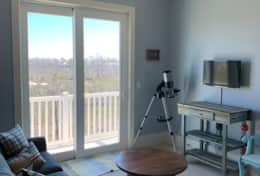 Loft area with telescope and views to the bay!