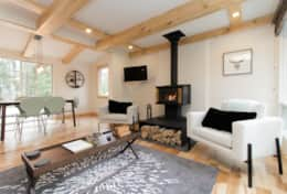 Living Area - Features a dining table, sofa bed and a wood burning fireplace
