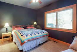 Downstairs Guest Bedroom with King bed and shares bathroom with twin beds bedroom