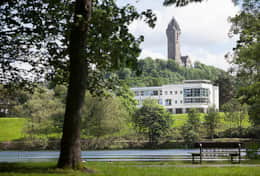 Wallace Monument from Airthrey Loch at University of Stirling.