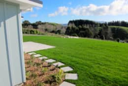 Open rural setting with views to Kapiti Island from Aston Road Villa.