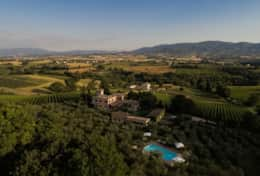 Agriturismo Montefalco, wine estate from the air