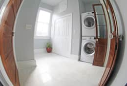 Beaucoups closet space, digital washer/dryer, iron & board